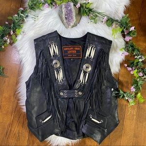 RAD BLACK FRINGE LEATHER MOTORCYCLE VEST // M